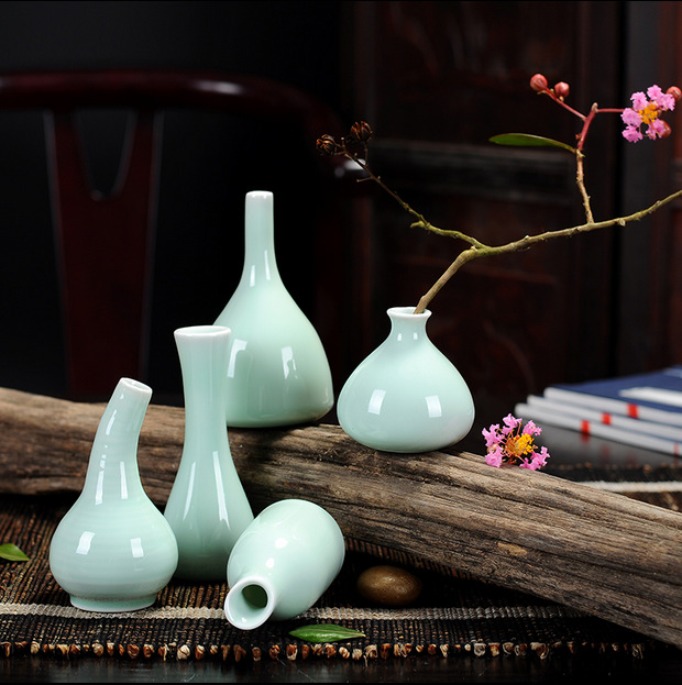 花器青瓷 茶道创意摆件手工个性小花插 家居装饰品陶瓷水培小花瓶