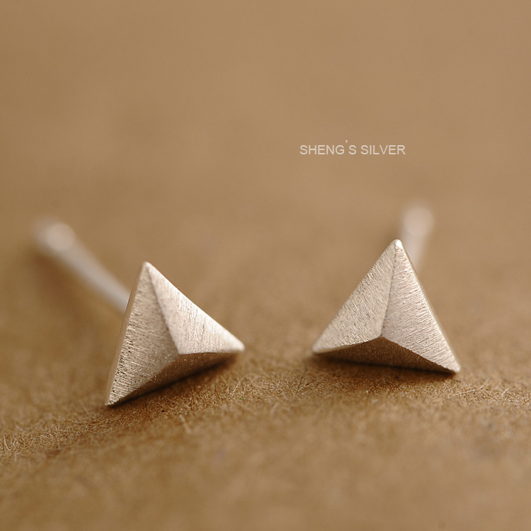正品925银耳钉 几何立体小三角耳钉拉丝简约日韩百搭极简饰品