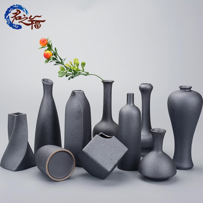 君之福粗陶花瓶现代居家工艺品小花器铁陶釉仿古摆件花插定制批发