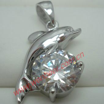 镶嵌锆石925纯银吊坠