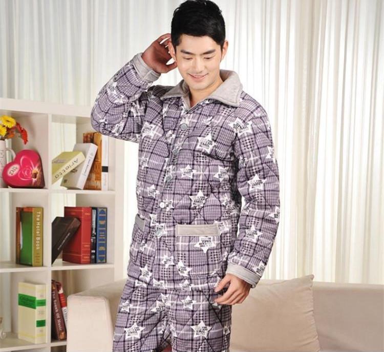 厂家睡衣批发冬季男士加厚保暖夹棉高档法兰绒休闲睡衣套装家居服1