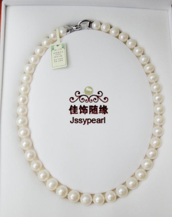 供應珍珠項鏈 10mm天然淡水珍珠項鏈 手工串珠珍珠項鏈 XL-040