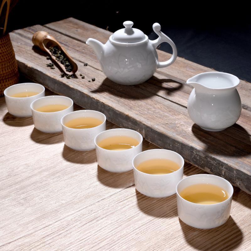 景德镇茶壶茶具套装功夫茶家用手工雕刻创意高白瓷 景德镇茶具厂