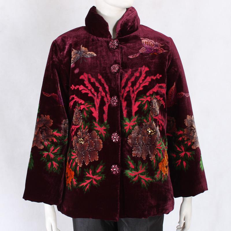 促销 中老年女装棉衣 真丝绒*秋冬棉衣外套 妈妈棉服正品1278