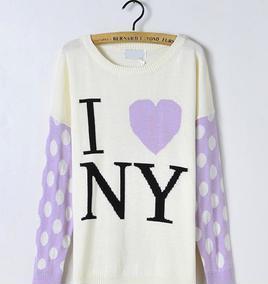 日系打底桃心字母拼色大圆点图案长袖中长款针织衫 毛衣