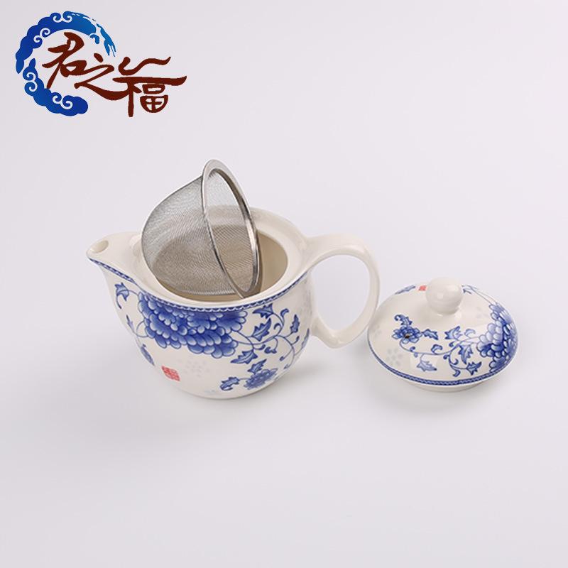 君之福陶瓷茶具 青花瓷双层功夫茶杯 茶壶茶盘整套 礼品定制批发