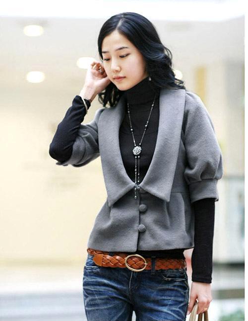 2010韩版SZ秋冬新款修身厚外套休闲女装百搭绵羊绒毛呢短外套