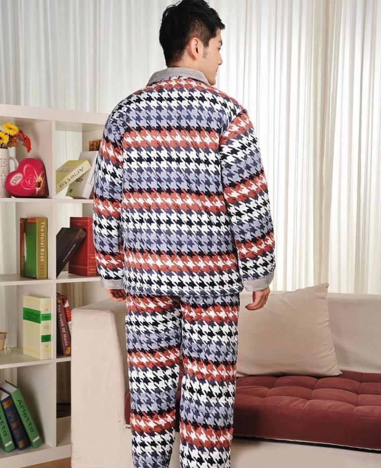 冬季加厚夹棉睡衣套装秋冬男士字母珊瑚绒法兰绒家居服 厂家直销1