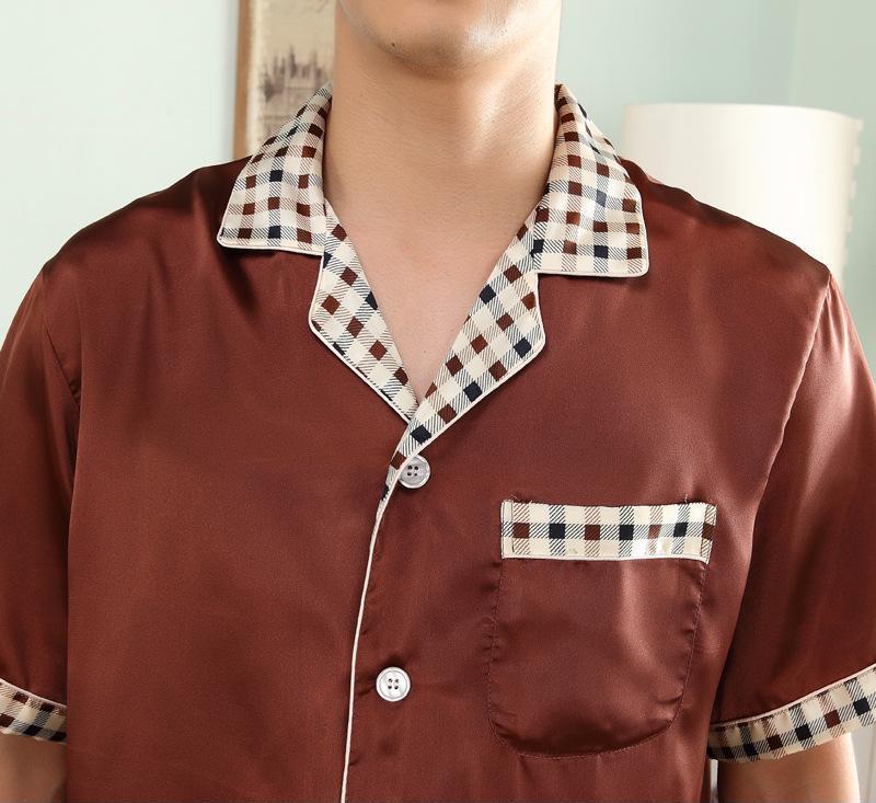 特价批发 超帅男士小格子丝绸短袖睡衣 2014新款丝绸男大码睡衣