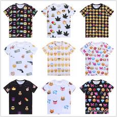 原宿风TEE 数码印花 3D短袖 Emoji 表情符号短袖潮创意t恤