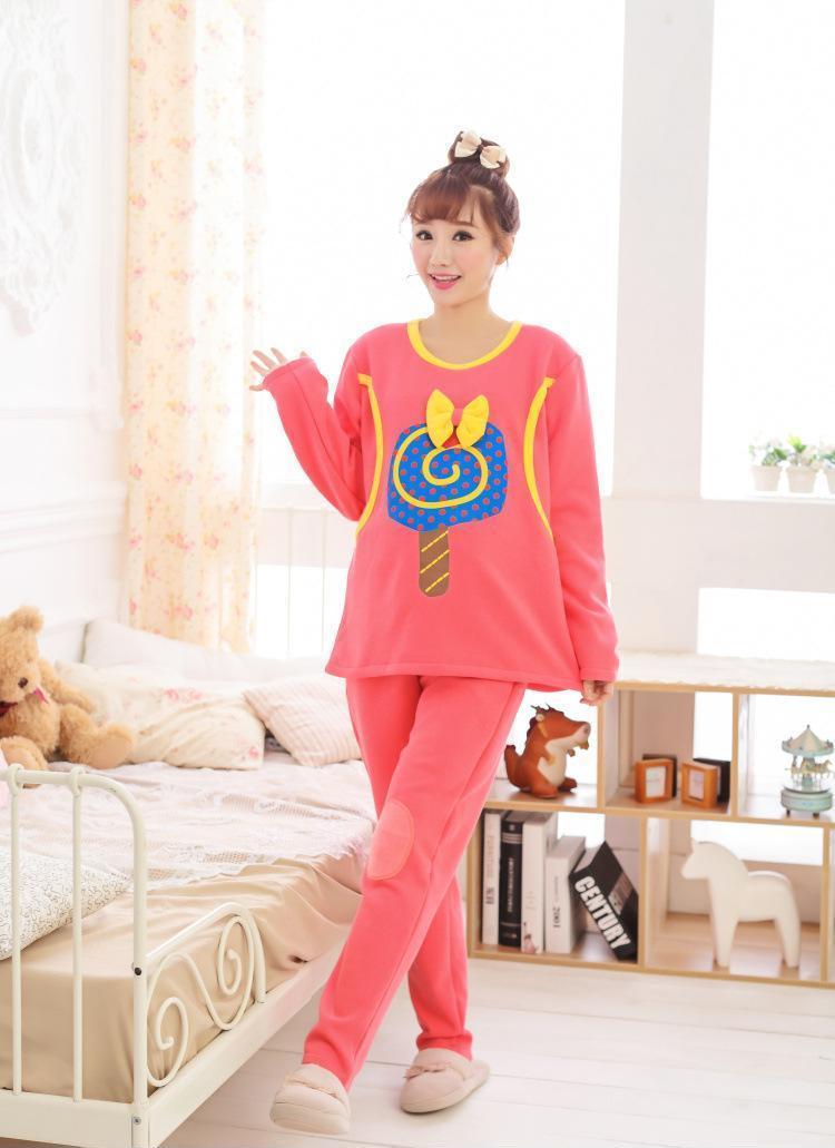 秋冬韩版宽松哺乳衣长袖大码纯棉孕妇装 月子服 外出时尚产后服