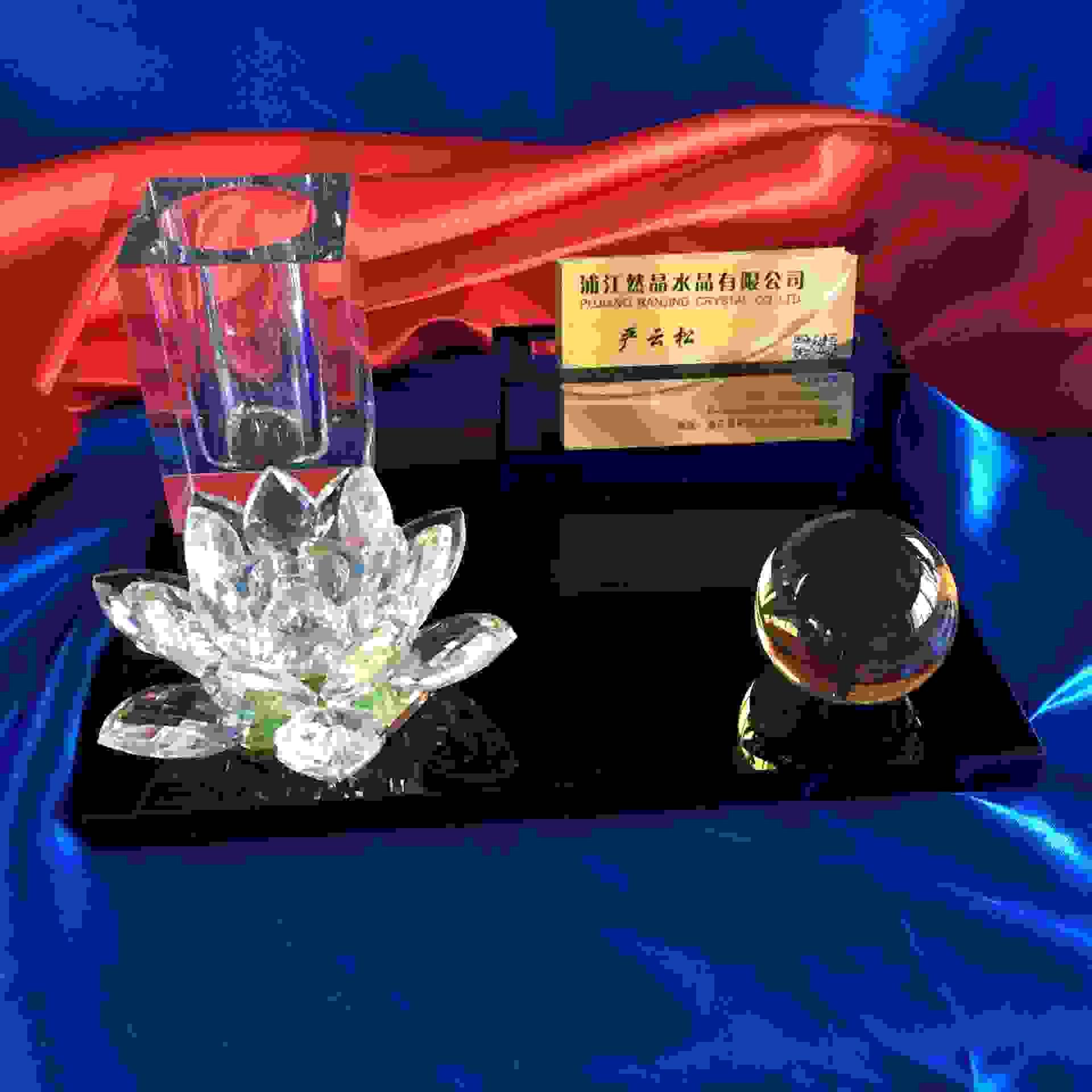 水晶莲花四件套摆件 笔筒名片夹个性工艺品摆设水晶办公桌面装饰
