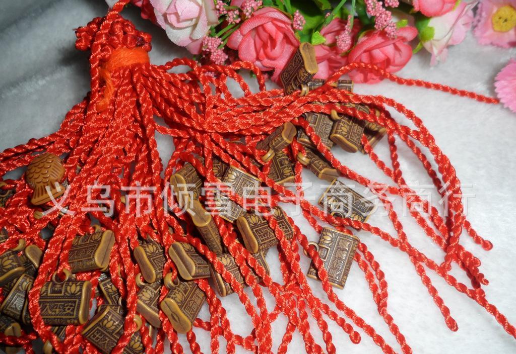 手工编织红绳手链 长命富贵方形平安金锁红绳 纪念品批发