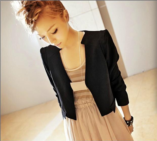 毛皮2014Luna同款 春装新款法国文艺简约线条型女西装 修身短款外套