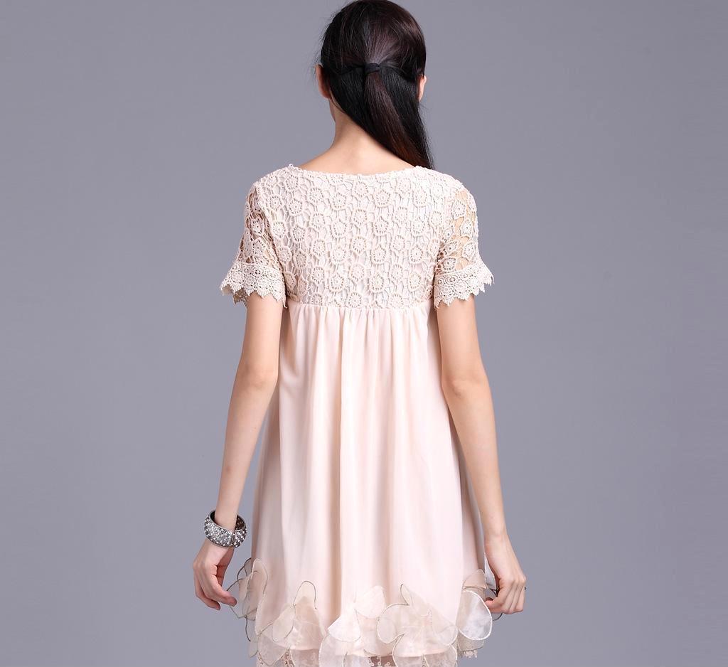 2013新款热销优雅镂空短袖下摆大花朵韩版时尚品牌连衣裙百褶裙