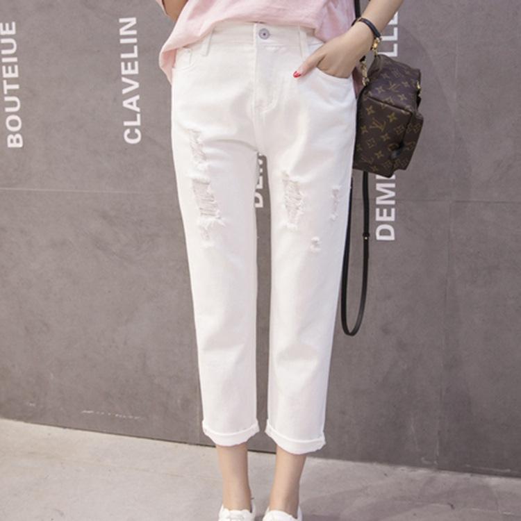 2016韩版白色宽松破洞哈伦裤高腰九分牛仔裤女显瘦乞丐裤