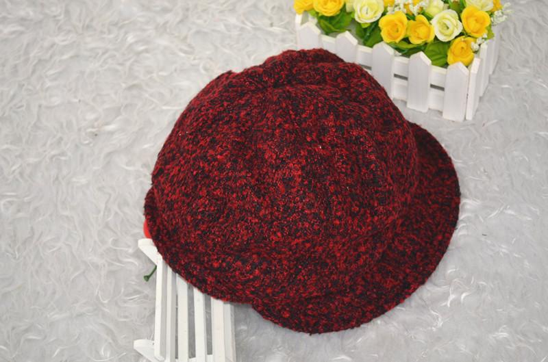 秋冬季女士盆帽加厚八角帽韩版时装帽冬季棉帽反尚毛线帽子批发