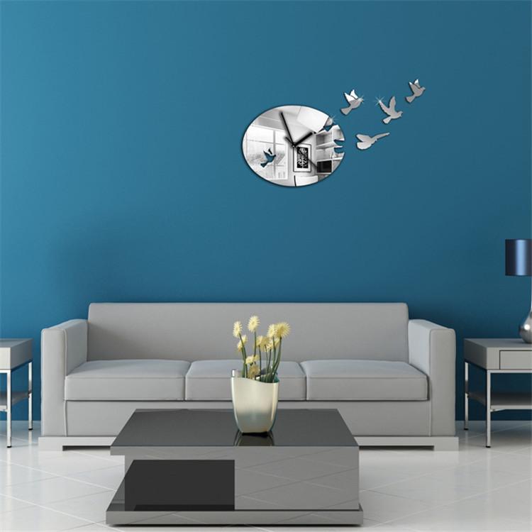 供应 爆款客厅卧室diy镜面挂钟墙贴 创意亚克力镜面挂钟图片