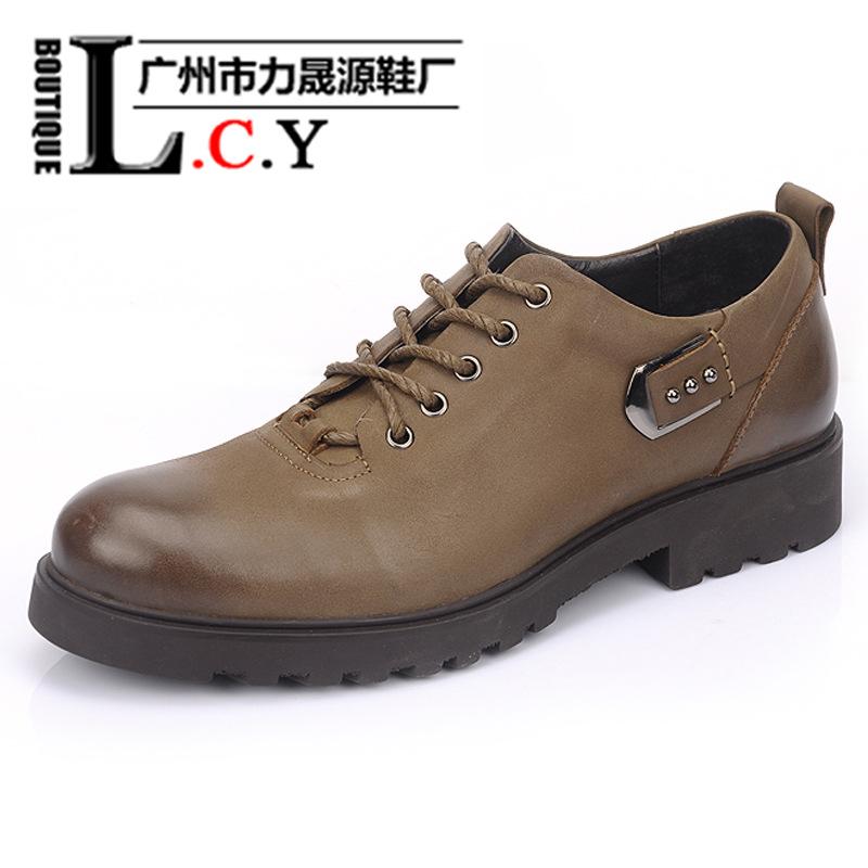鹤山鞋厂厂家直销爆款男鞋头层磨砂牛皮鞋时尚复古增高男休闲鞋子