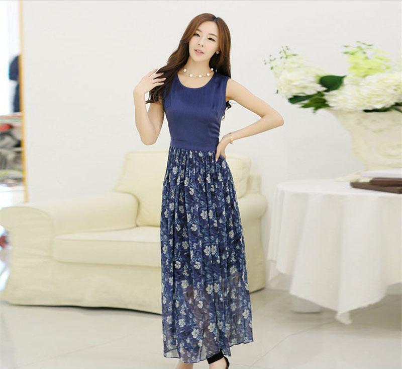 2014夏季国际外贸精品女装国际名模同款真丝连衣裙 长款连衣裙女