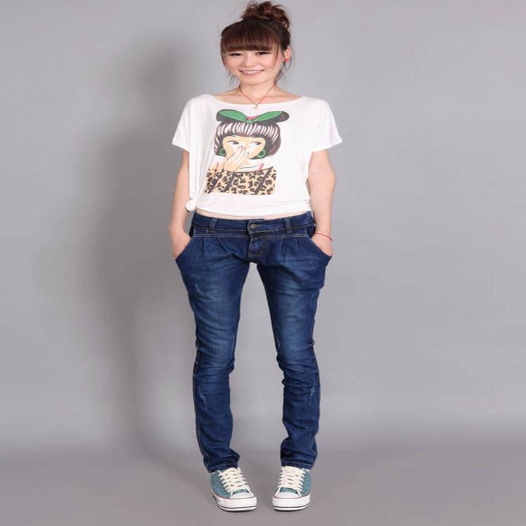 工厂直销欧美时尚新款显瘦高腰牛仔裤女小脚铅笔裤