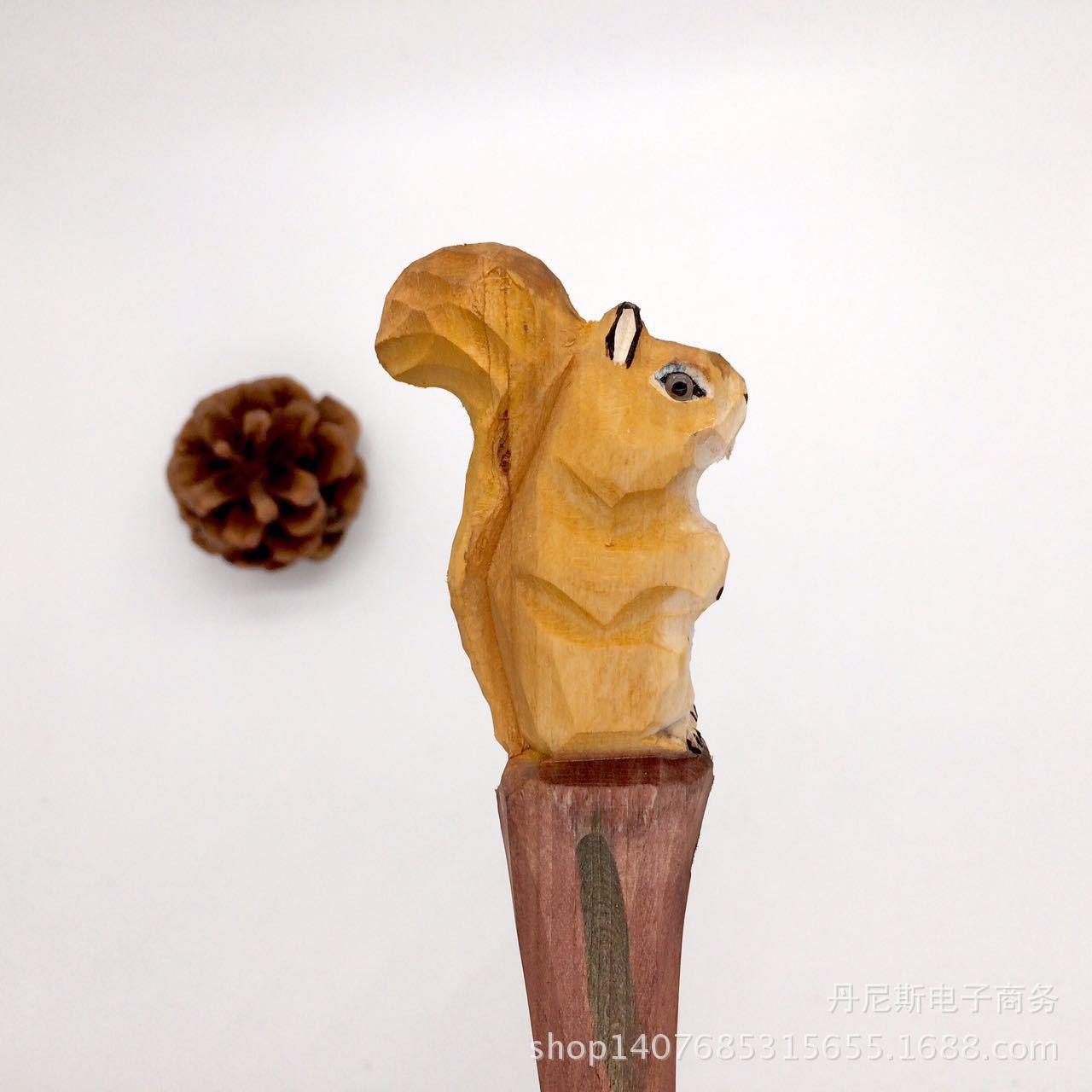 厂家直销纯手工木雕动物笔 创意木雕松鼠圆珠笔 可更换笔芯中性笔