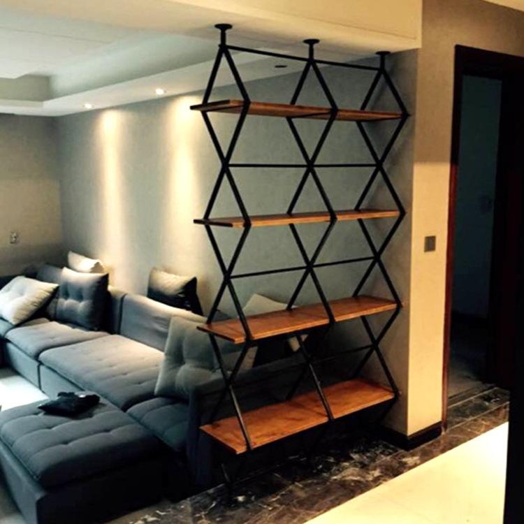 美式铁艺实木酒店家居办公隔断屏风 多层客厅松木置物架可定制图片