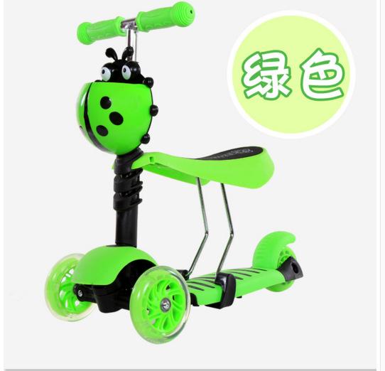 儿童三合一宝宝可坐滑板车闪光3三轮升降2-5岁小孩滑行溜溜踏板车