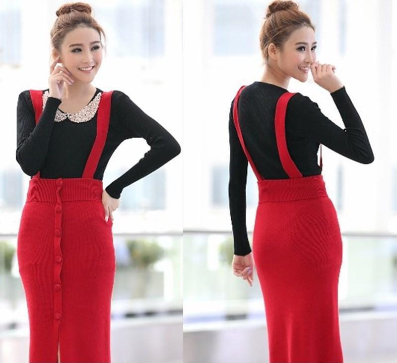 2013秋季新款毛线裙女装包臀显瘦背带裙毛线中长款半身裙批发代发