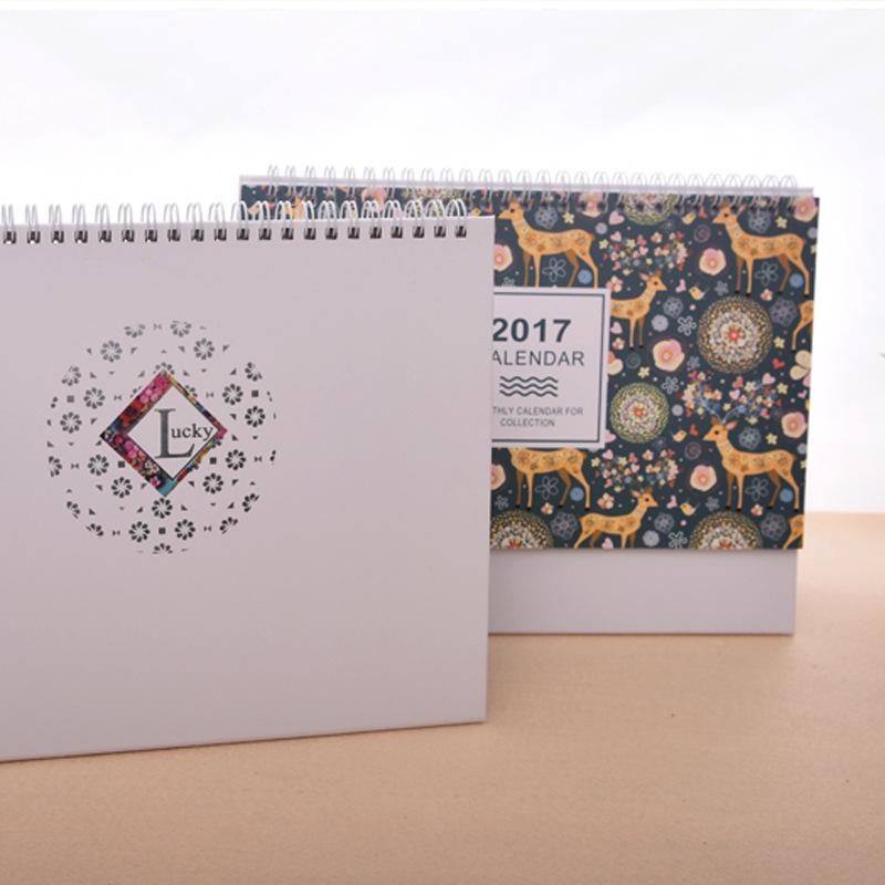 现货批发新款2017年韩版台历 创意记事日历 公司广告台历定制图片
