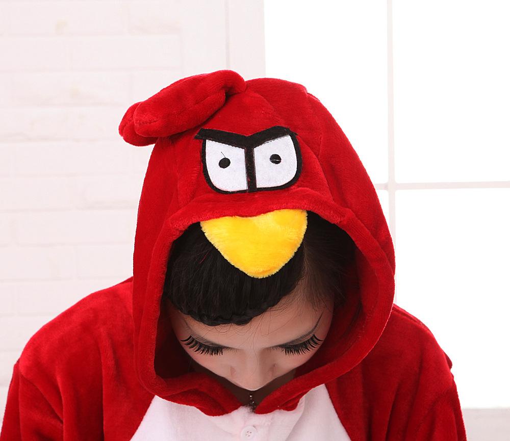 法兰绒愤怒的小鸟动物连体睡衣卡通冬季男女情侣服亲子装如厕版绒