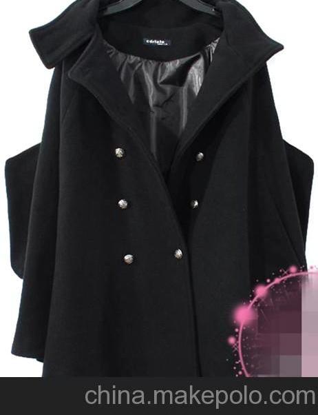 秋冬新款歐美女裝中長款雙排扣英倫風毛呢大衣風衣披肩斗篷外套圖片