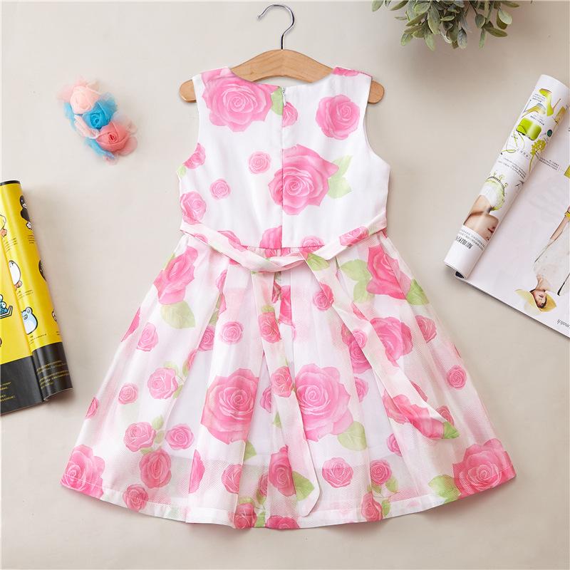 厂家直销 童装夏款女童裙子甜美花朵无袖公主裙儿童裙子连衣裙图片