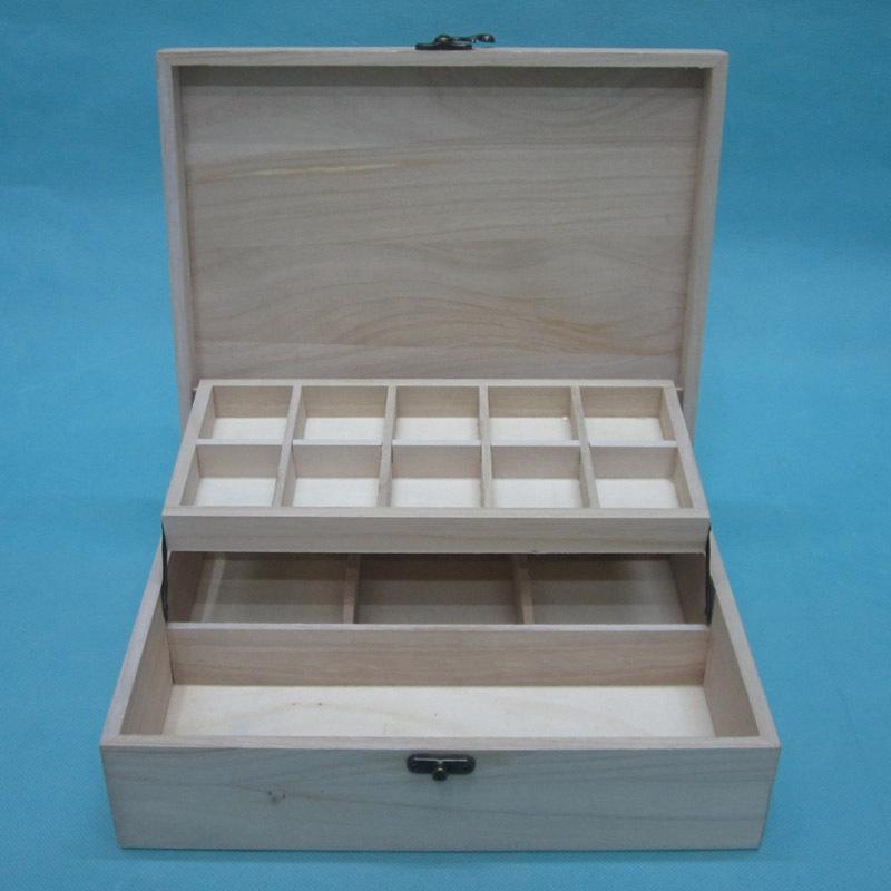 15#桐木现货天然实松木针线首饰收纳盒 翻盖双层多格子原色木盒
