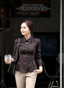 2012新款春装衬衣女长袖修身职业装女装韩版泡泡袖衬衣1371