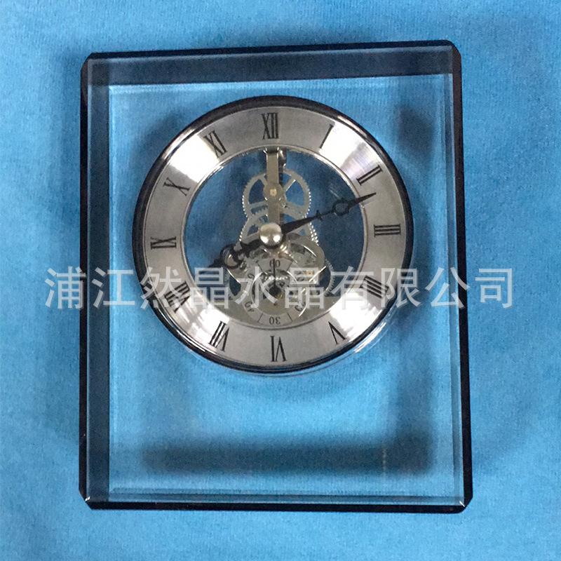 水晶钟摆设 家居装饰小摆件 黑色水晶装饰钟 简约现代黑色钟摆件
