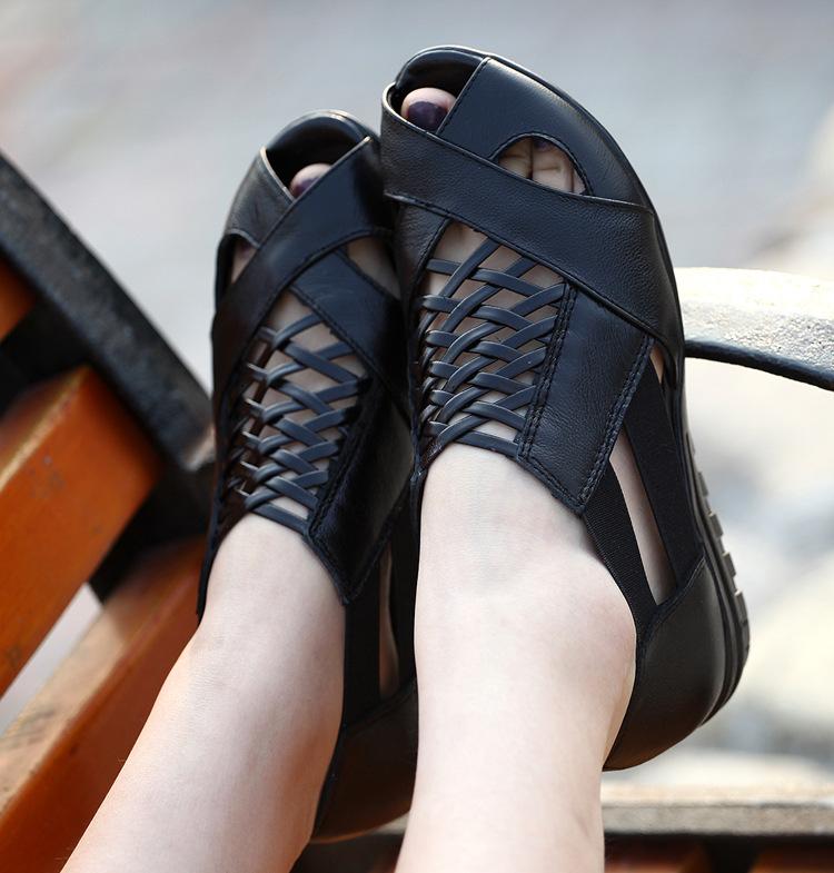 【超值价批发 】供应时尚休闲 女士潮流罗马凉鞋  真皮平底女凉鞋