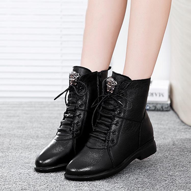 秋冬新款真皮短靴粗跟马丁靴欧美风子前系带圆头低跟保暖女靴子