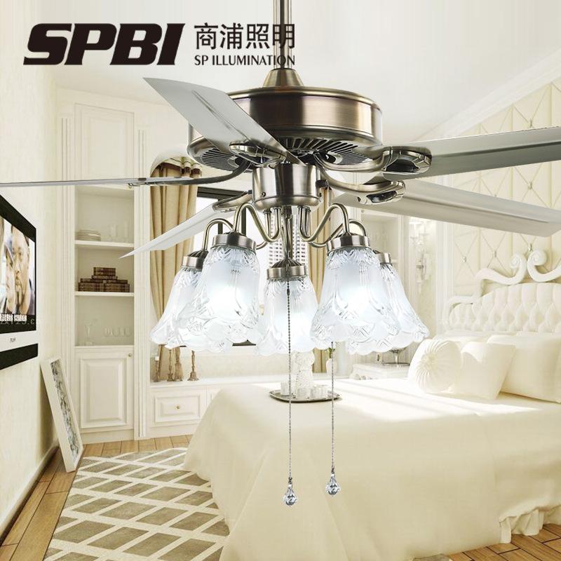 商浦铁叶led风扇灯 欧式仿古客厅餐厅带风扇的吊灯装饰LED吊扇灯