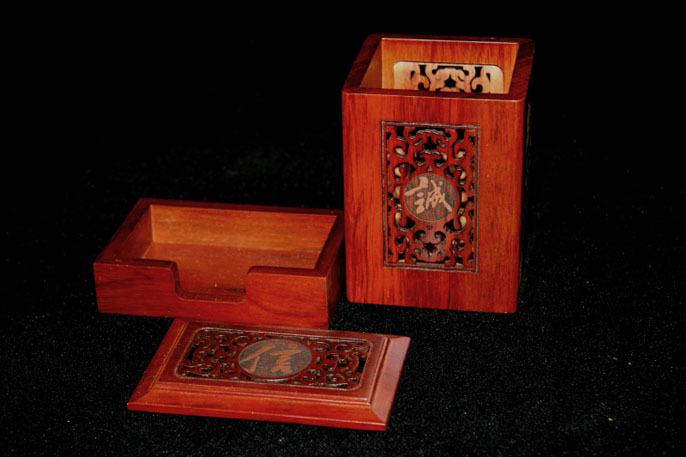 花梨木笔筒  名片盒