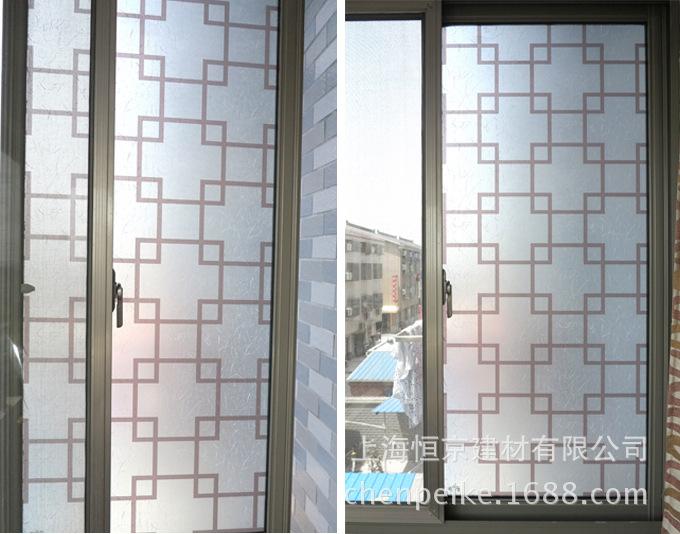 自粘【90cm宽棕色格子】中式玻璃纸膜窗花贴膜移门贴纸浴室.图片