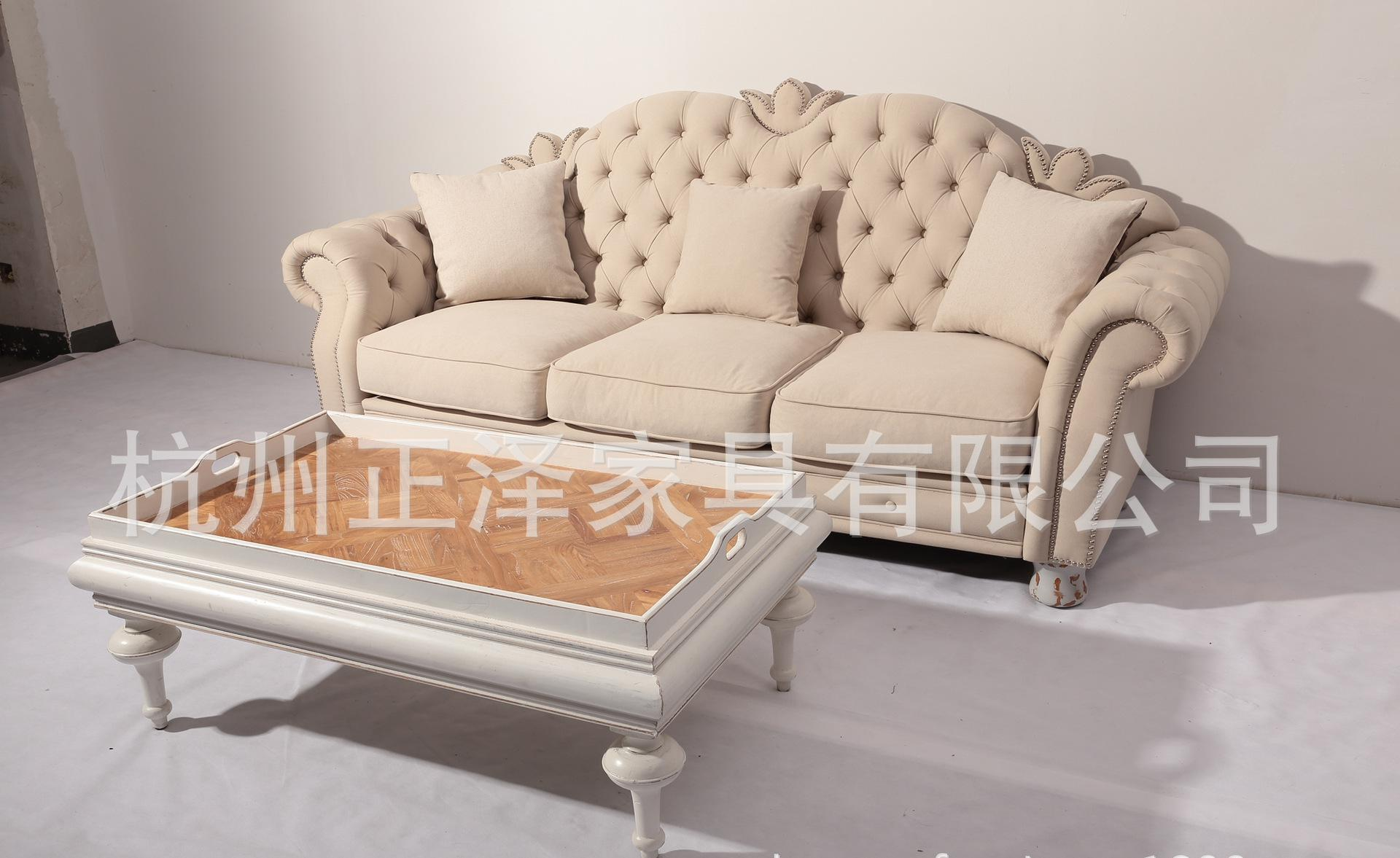 最新款式法式乡村欧式美式真皮沙发椅三人位沙发0
