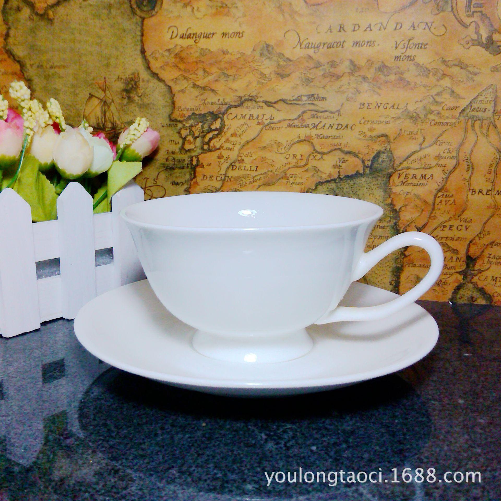 厂家批发定制公司logo咖啡杯子陶瓷 纯白瓷英式杯碟套装外贸尾单