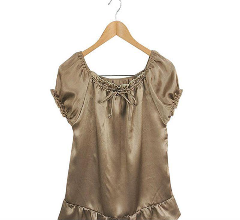 100%桑蚕丝短袖 真丝娃娃衫 可爱款 素绉缎上衣热卖卡其色新品