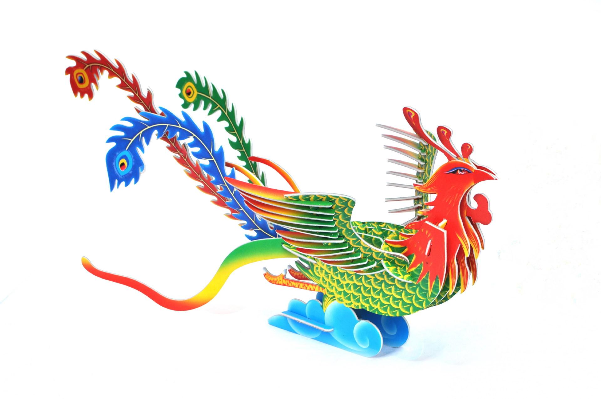 立体拼图批发 儿童diy手工益智玩具 动物凤凰纸质模型 送叫卖录音图片