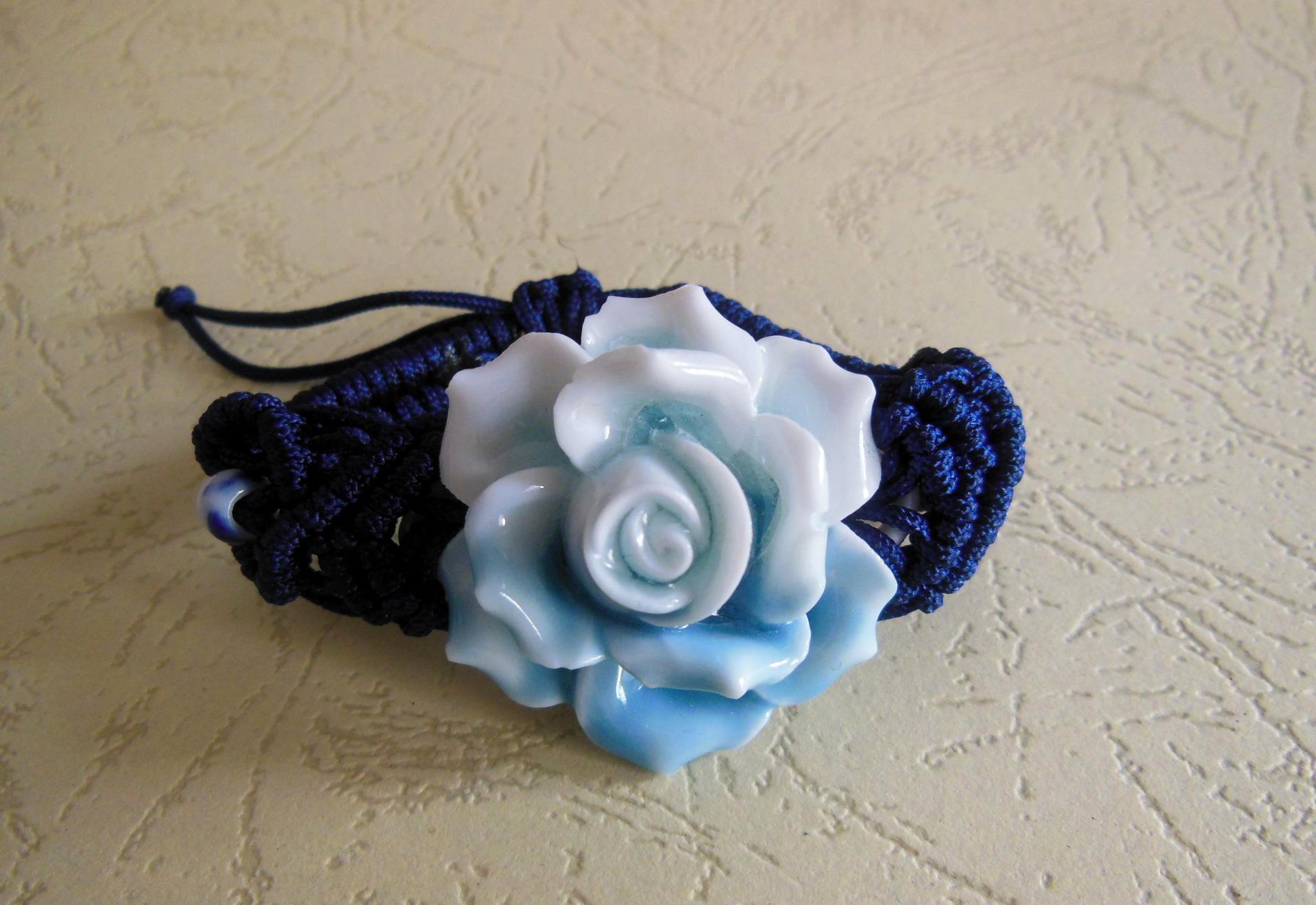 手工捏花手链 传统编绳手链 陶瓷珠手链