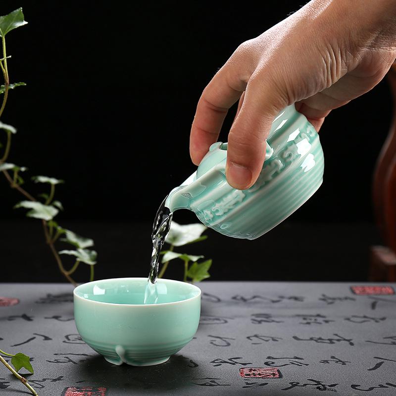 青瓷快客杯简易旅行一壶一杯套装茶具办公杯青瓷个人杯特价批发