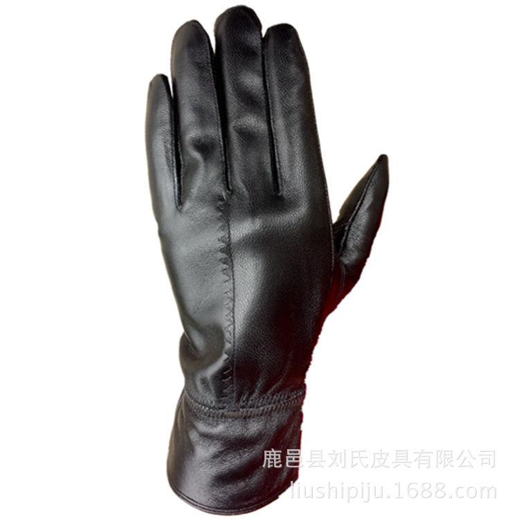 厂家直销2016新款女式两拼皮手套 花边拼皮手套 外贸手套