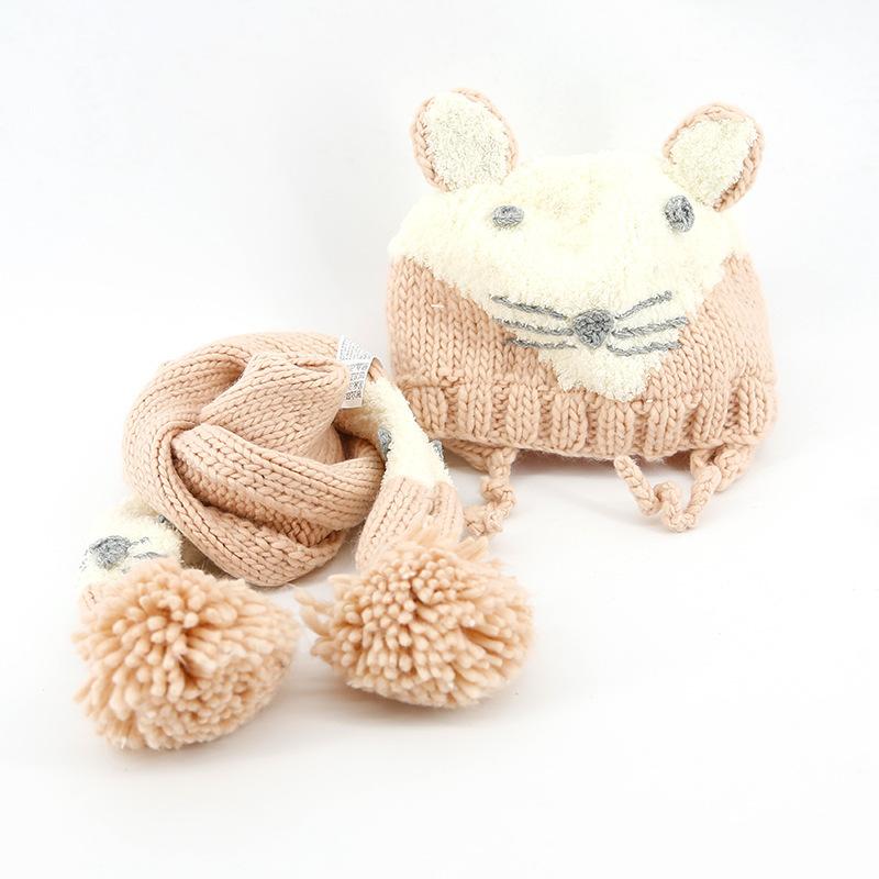 2016秋冬新款 儿童婴儿帽子围巾两件套装 宝宝编织针织毛线帽欧美0