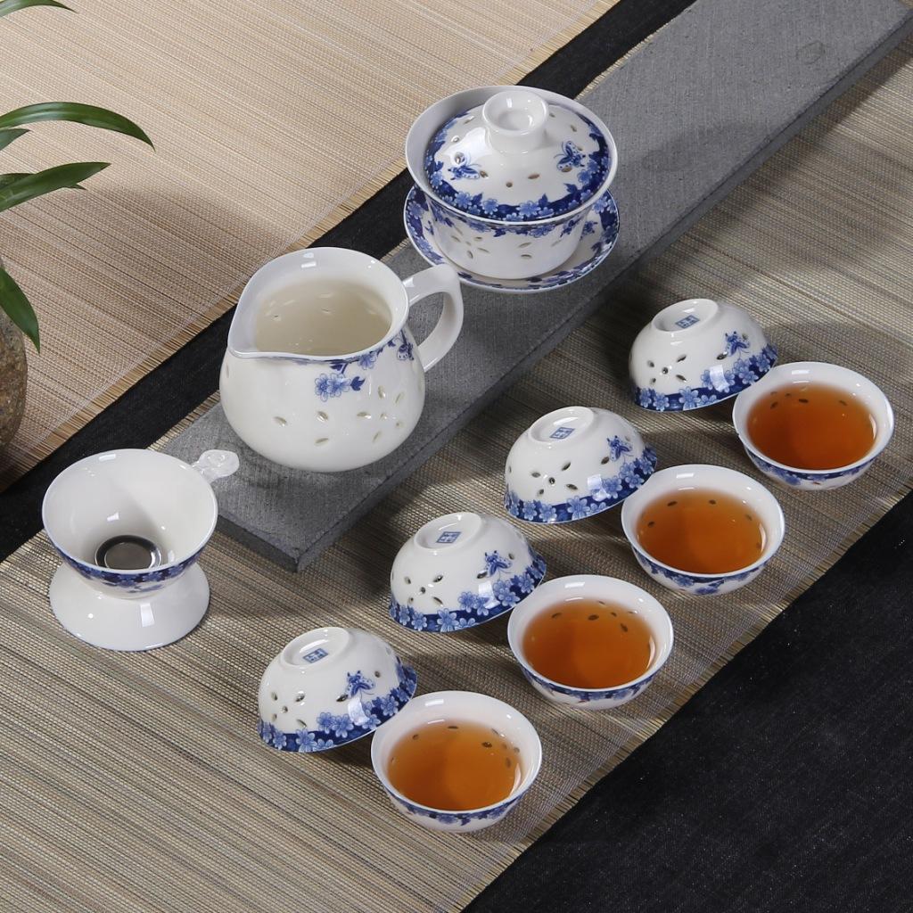 高档镂空青花玲珑整套陶瓷功夫创意礼品茶具茶杯套装特价批发定制
